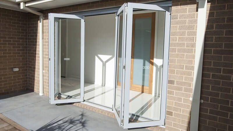 Bi-fold door partially opened - outside view