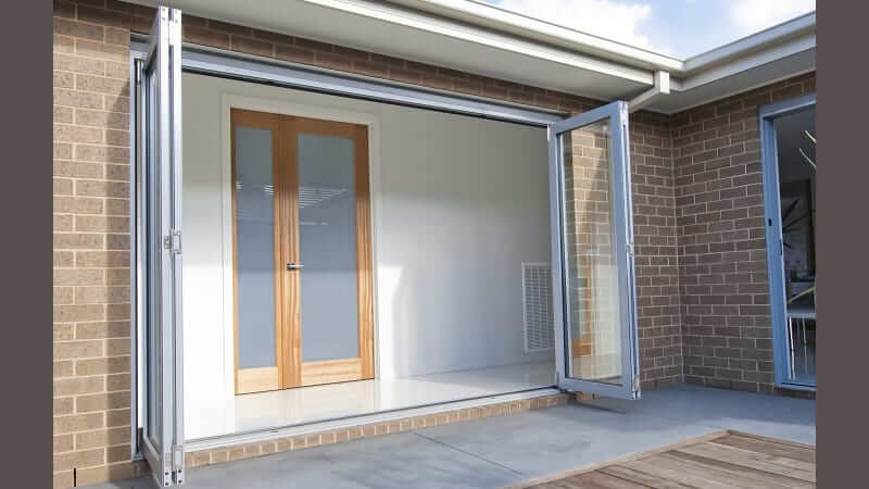 Bi-fold door fully opened - outside view