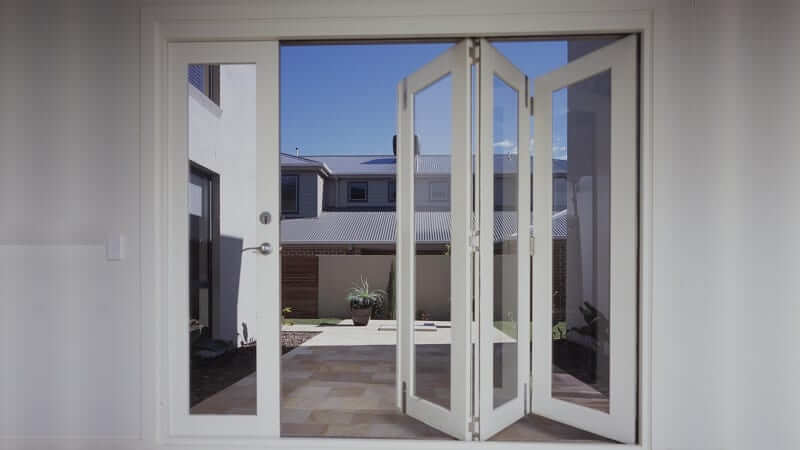 LLLR configuration bi-fold door partially open - inside view