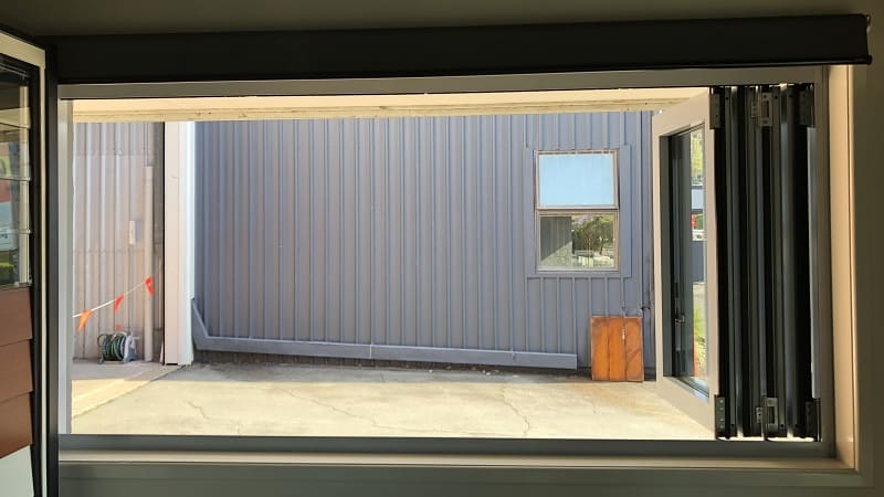 Bi-fold window open - inside view