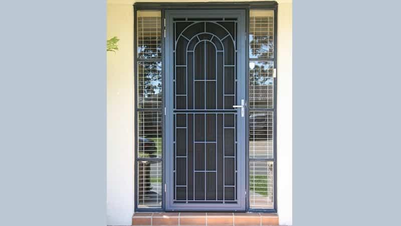 Cast aluminium screen door in Mountain Blue