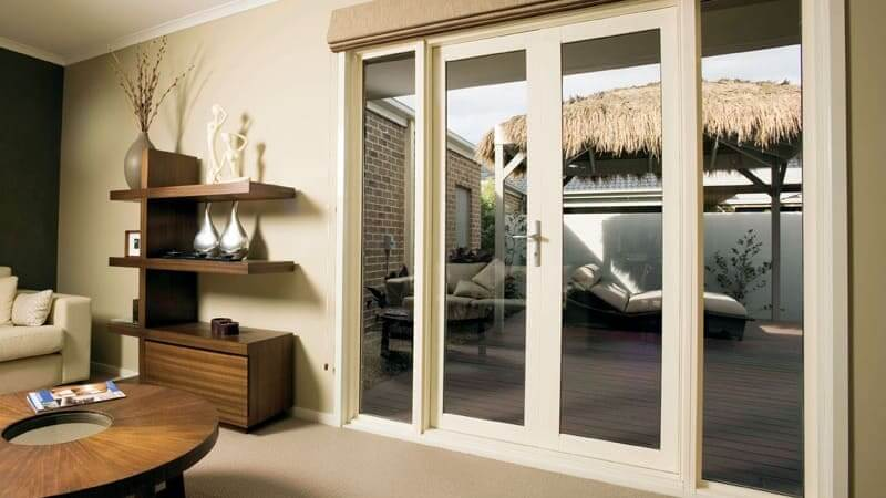White framed French doors with sidelites - inside view