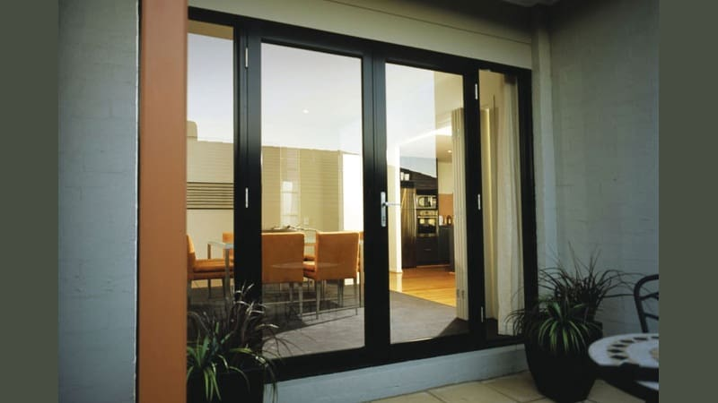 Black framed French doors with sidelites - outside view